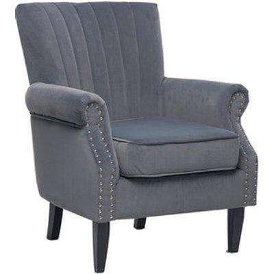 Wingback Armchair - Velvet Grey