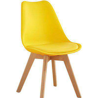 Yellow 4 Wood Tulip Dining Chairs - Yellow