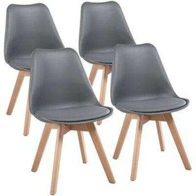 Dark Grey 4 Wood Tulip Dining Chairs - Dark Grey