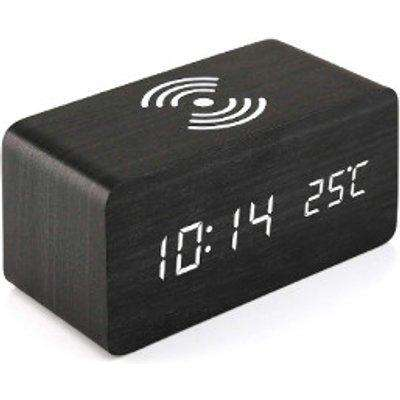 Wooden Alarm Clock with Wireless Charging Pad