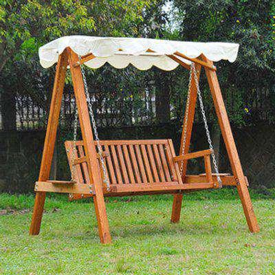 2 Seater Wooden Garden Swing Chair - cream