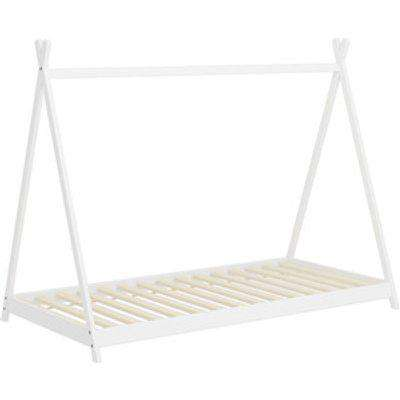 Wooden House Bed Frame - White / Triangle