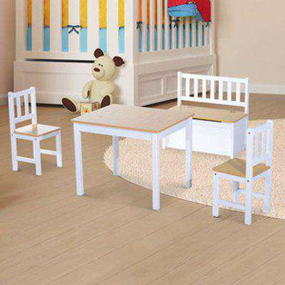 Wooden Kids Play Table Chairs and Storage Bench Set - Beige