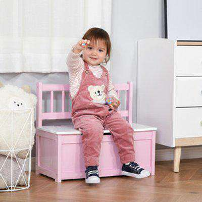 2-IN-1 Wooden Toy Box Kids Seat - Pink