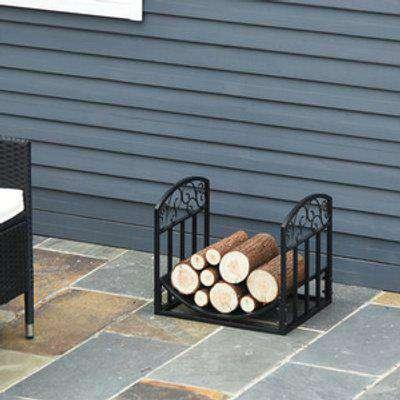 Wrought Iron Inner Arced Wood Log Holder - Black