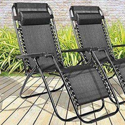 2x Sunloungers Folding Recliner Garden Chairs