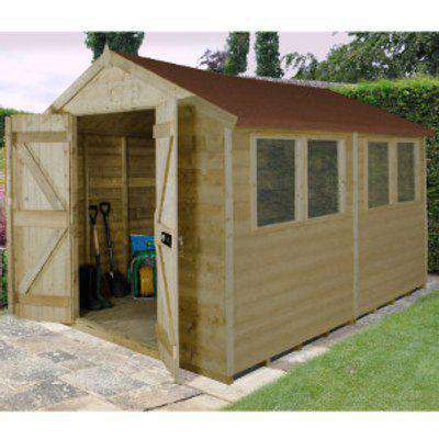 8 x 10 ft Tongue and Groove Pressure Treated Double Door Apex Shed Frame