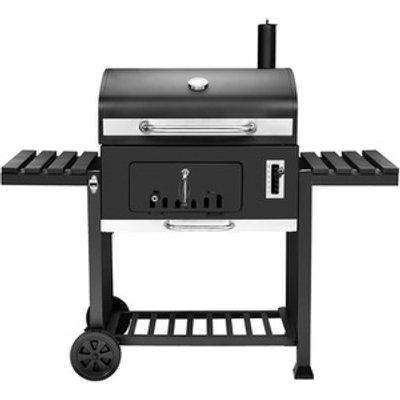 XXL Charcoal BBQ Grill with Two Side Tables - Black