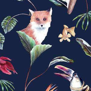 Bohemian Palms in Midnight Wallpaper Badgers of Bohemia BPW08