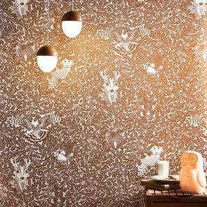 Forest Wallpaper Copper Rust Metallic Hevensent FOR-WP-COP