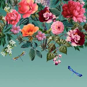 Majorelle Floral Wall Mural Teal Holden 99341