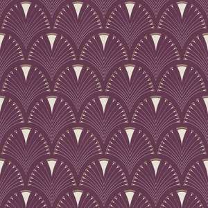 Modern Art Art Deco Fan Wallpaper Plum / Gold Rasch 433241