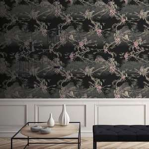 Ted's Enchanted Collection Hibiscus Wallpaper Black, Ted Baker 12476