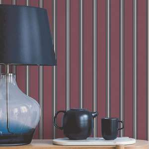 Ted's Enchanted Collection Suitcase Stripe Wallpaper Burgundy, Ted Baker 12494
